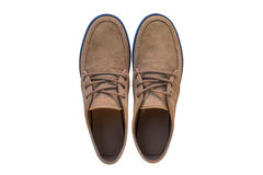 Bruna skor för man` som s isoleras på vit bakgrund Royaltyfri Bild