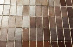Bruna tegelplattor som monteras som väggen royaltyfri bild
