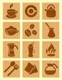 bruna texturerade kaffesymboler Fotografering för Bildbyråer
