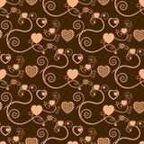 bruna utmärkta hjärtor för bakgrund Arkivbild