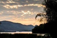 Bruna wood undertecknar in naturen, landskap av dammet Fotografering för Bildbyråer