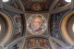BRUNATE, ITALY - MAY 2016:Dome of St. Andrew the Apostle Church is a sacred building site in Brunate, in the province of Como. Royalty Free Stock Images