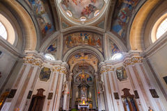 BRUNATE, ITALY - MAY 2016: St. Andrew the Apostle Church is a sacred building site in Brunate, in the province of Como. Stock Photos
