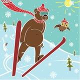 Brunbjörnen skidar banhoppningen. Humoristisk illustration Royaltyfri Illustrationer