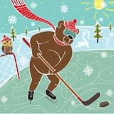 Brunbjörnhockey i natur. Humoristisk illustration Vektor Illustrationer