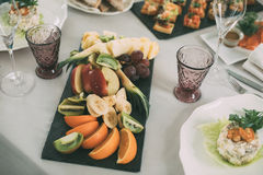 Brunch Choice Crowd Dining Food Options Eating Concept. Luxury dinner served on the table with glass of wine stock photo