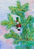 Brunch dell'abete di Natale con il pupazzo di neve Fotografia Stock Libera da Diritti