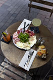 Brunch and drinks. On the terrace of a French bistro Royalty Free Stock Photography