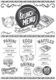 Brunch menu restaurant, food template. Stock Image