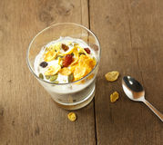 Brunch : glass of home made yogurt with cereals and muesli. Royalty Free Stock Photography
