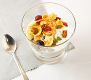Brunch : glass of home made yogurt with cereals and muesli. Stock Image