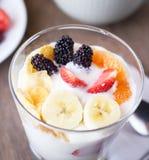 Brunch : glass of home made yogurt. Stock Photo