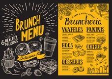 brunch menu food flyer for restaurant and cafe design template