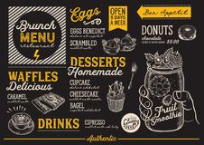 Brunch menu restaurant, food template. Royalty Free Stock Images