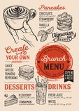 Brunch menu restaurant, food template. Brunch restaurant menu. Vector food flyer for bar and cafe. Design template with vintage hand-drawn illustrations Royalty Free Stock Photography
