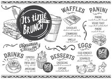 Brunch menu restaurant, food template. Brunch food menu for restaurant and cafe. Design template with hand-drawn graphic illustrations Stock Photo
