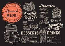 Brunch menu restaurant, food template. Brunch restaurant menu. Vector food flyer for bar and cafe. Design template with vintage hand-drawn illustrations royalty free illustration
