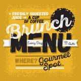 Brunch Menu Vintage Influenced Typographic Poster Design For Restaurants. Stock Images