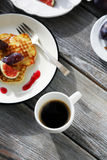 Brunch pancakes with figs and coffee Royalty Free Stock Photos