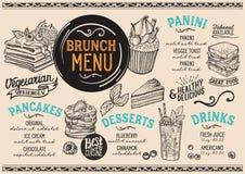 Brunch menu restaurant, food template. Brunch restaurant menu. Vector food flyer for bar and cafe. Design template with vintage hand-drawn illustrations Stock Photo