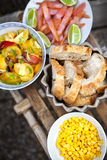 Brunch on a small wooden table Royalty Free Stock Image