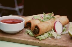 Brunch. Spring rolls as a perfect autumn brunch Royalty Free Stock Image