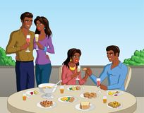 Brunch. Vector illustration of a group of black friends out for brunch Royalty Free Stock Image