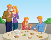 Brunch. Vector illustration of a group of blonde friends out for brunch Royalty Free Stock Photography