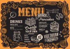 Brunchmenü für Restaurant mit Rahmen des grafischen Gemüses Stock Abbildung