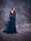 Brune attrayante magnifique, dame dans une longue robe noire avec les bras et les épaules ouverts nus, seule la fille pendant l'a photographie stock