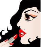 Brune avec le rouge à lèvres (vecteur) Photographie stock