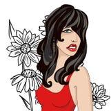 Brune en rouge sur un fond des fleurs noires Image libre de droits