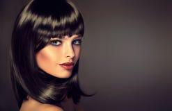 Brune modèle avec la coiffure du soin image stock