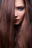 Brune sensuelle mod?le de beaut? - cheveu lisse de Brown Photos libres de droits