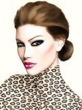 Brune sexy avec le heterochromia et les lèvres roses Photographie stock