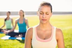 Brune sportive paisible faisant le yoga avec ses amis Photos libres de droits