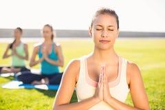 Brune sportive paisible faisant le yoga avec ses amis Images stock