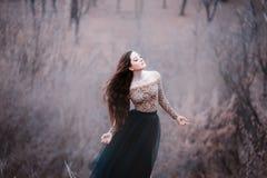 Brune tendre stupéfiante, dame dans une longue robe noire avec les bras et les épaules ouverts nus, seule la fille dans le froid  images libres de droits