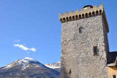 Brune tower of Embrun in the Alps Royalty Free Stock Images
