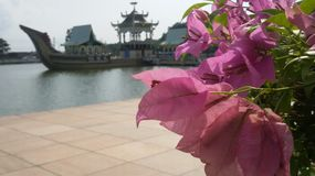 Brunei Ceremonial Ship as the background of pretty flowers Royalty Free Stock Photography