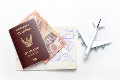 Brunei Darussalam banknotes and Thailand passport Stock Image