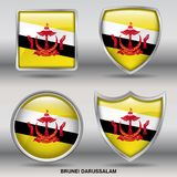 Brunei Darussalam Flag in 4 shapes collection with clipping path stock photos
