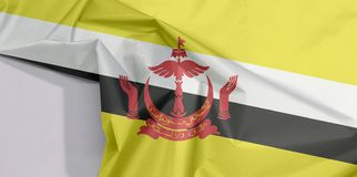 Brunei Darussalam tkaniny flaga zagniecenie z biel przestrzenią i krepa obrazy stock