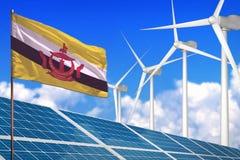 Brunei Darussalam zonne en windenergie, duurzame energieconcept met zonnepanelen - duurzame energie tegen het globale verwarmen - stock illustratie