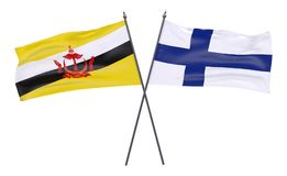 Two crossed flags. Brunei and Finland, two crossed flags isolated on white background. 3d image Royalty Free Stock Photography