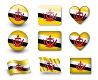 The Brunei Flag. Set of icons and flags. glossy and matte on a white background Royalty Free Stock Photography