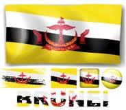 Brunei flag in different designs Stock Photos