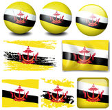 Brunei flag on different items Royalty Free Stock Photo