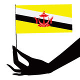 Brunei flag in his hand Royalty Free Stock Photos