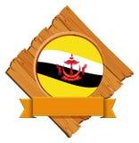Brunei-Flagge auf hölzernem Brett vektor abbildung